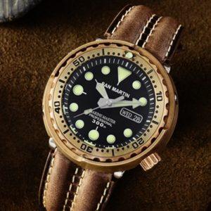 Bronze Watch SAN MARTIN Mechanical Luminous BRONZE Diving Watch With DATE WINDOW SN003-Q