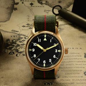 Bronze Watch San Martin Pilot Watch Bronze Mechanical Military Watch SN030-Q2