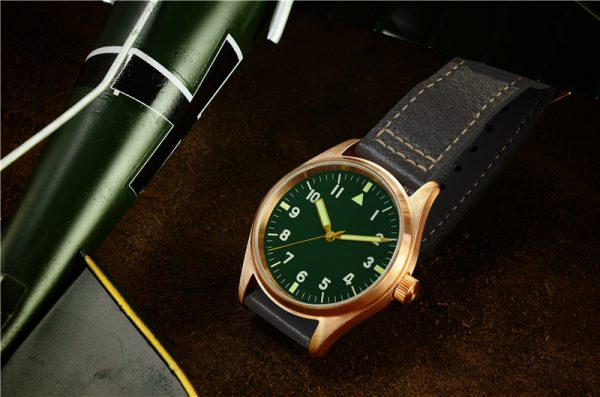 Bronze Watch San Martin bronze pilot mechanical watch retro military watch luminous waterproof SN030-Q