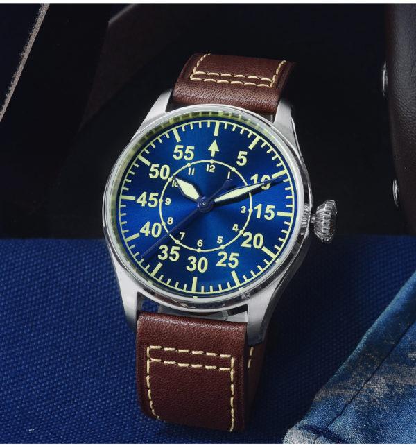 On Sale!!! San Martin Pilot Watch Mechanical Watch With See-Through Caseback SN060-G