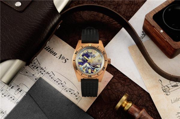 Bronze Watch San Martin Bronze Luminous Diving Watch Sapphire Crystal SN007-Q1 The Great Wave off Kanagawa