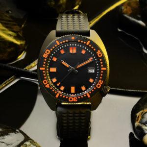 Bronze Watch San Martin Diver's Watch Sapphire Crystal black dial SN0068G-DH