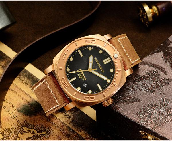 Bronze Watch San Martin Bronze Luminous Diving mechanical Watch SN078-Q