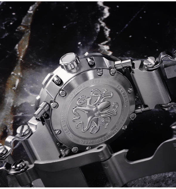 On Sale!!! SAN MARTIN original style octopus with leather strap mechanical watch steel SN025-G