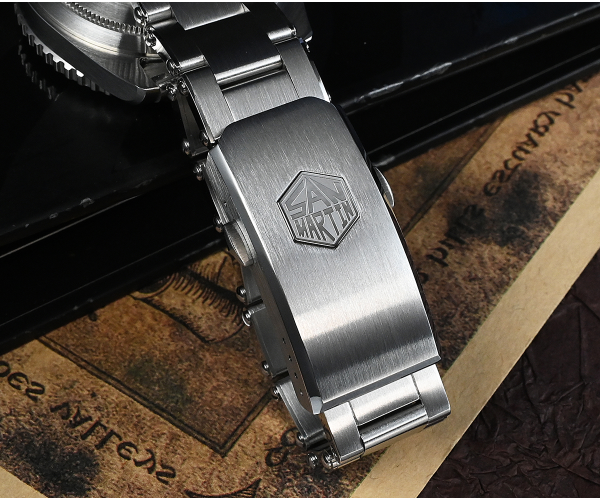 New Arrivals SAN MARTIN mechanical diving watch 200 meters waterproof SN004-G-V3 with pencil hands